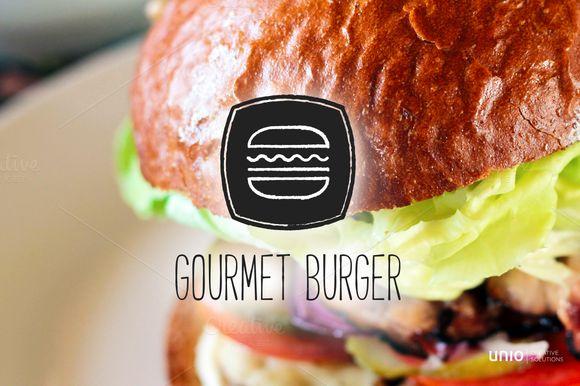 Gourmet Hamburger Logo by Unio | Creative Solutions on Creative Market
