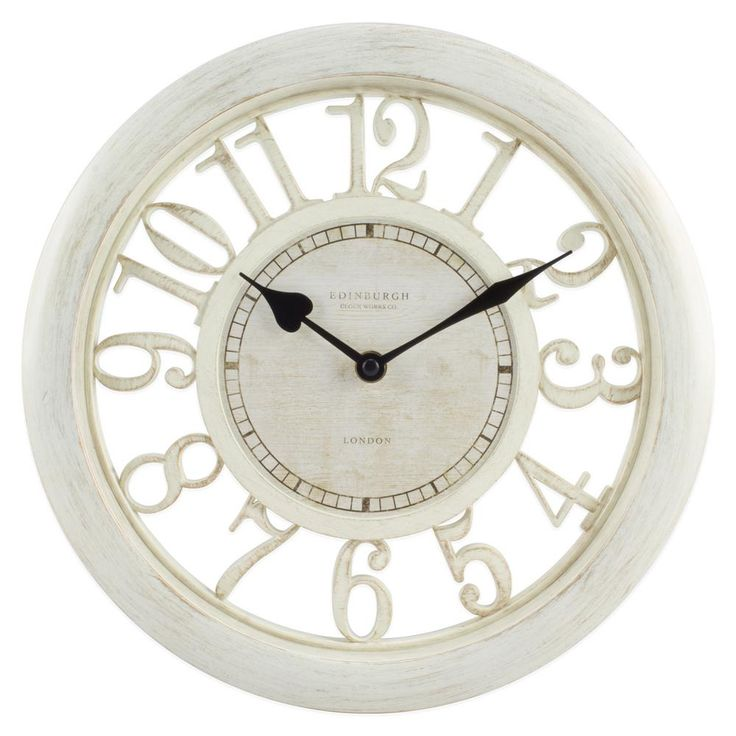 11-1/2 in. White Floating Dial Analog Wall Clock, Beige