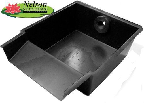 """Nelson's Pond & Waterfall Spillway Filter Box . $74.65. Intake is a 1"""" bulkhead fitting (FPT)- accepts 1"""" ID hose.. Spillway is 15.25"""" wide. Handles pump flows up to 2000 gph.. Lifetime manufacturer warranty!. Filter media (not included) may be added for biological filtration.. Waterfall Spillway.  Use this spillway with a reservoir kit to create a waterfall & disappearing stream system Its shallow design makes it easy to hide Easy to install & is inexpensive ."""
