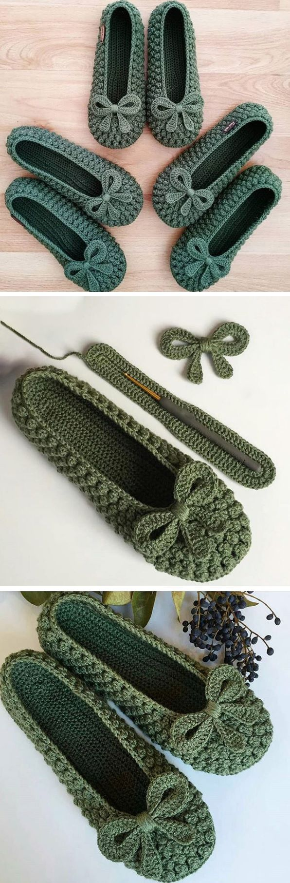 Slippers in Green(Bow) & Red – Crochet Tutorial