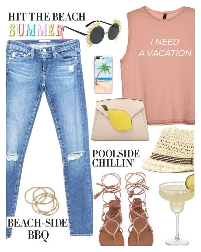 """""""Summer Vacation"""" by juliehooper ❤ liked on Polyvore featuring AG Adriano Goldschmied, ABS by Allen Schwartz, Casetify, denim, sandals, polyvoreeditorial and SummerVacation"""