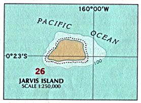 Jarvis Island is an uninhabited 1.75 square mile coral island located in the South Pacific Ocean at 0°22′S 160°01′W / 0.367°S 160.017°W, about halfway between Hawaii and the Cook Islands.