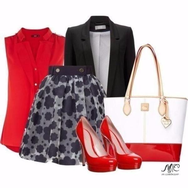 Шикарные варианты с красными туфлями.