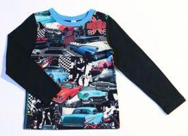 Camiseta niño original Molo Rolf Rockabilly. Manga larga con print de coches rockabilly. 90% algodón, 10% elastán. $22.98 Euros.