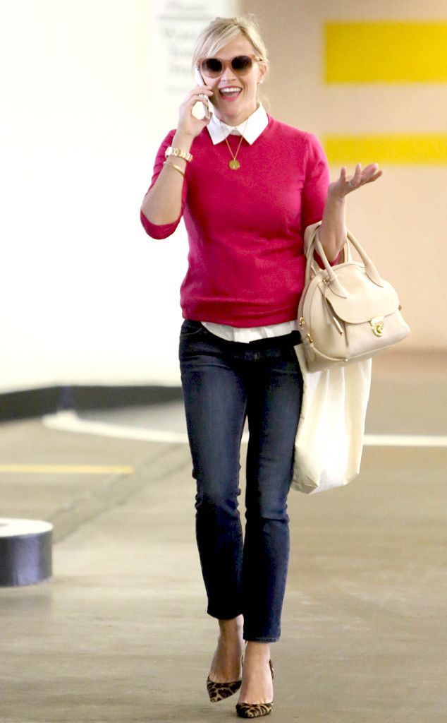 Pink Prepster from Reese Witherspoon's Street Style The Oscar-winner chats away wearing a vibrant fuchsia sweater, cropped Koral jeans and cheetah-print Christian Louboutin flats.