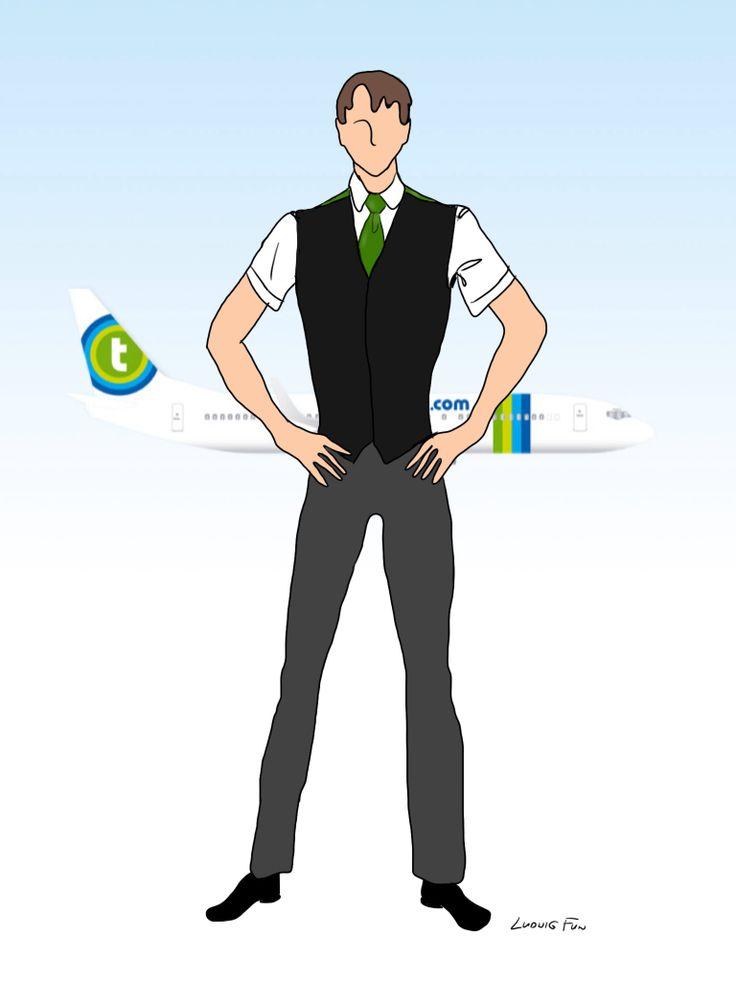 Design concept for transavia.com's upcoming new cabin crew uniforms. Men's black/green waistcoat over charcoal trousers.