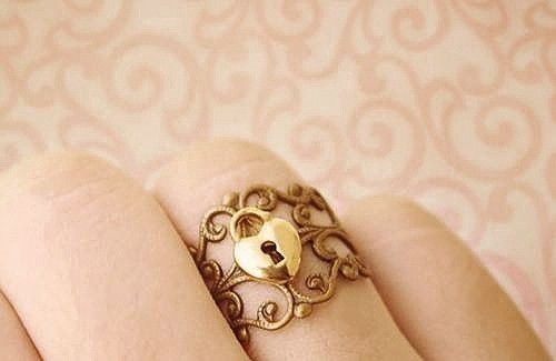 gold, heart, lock ring, locket, ring
