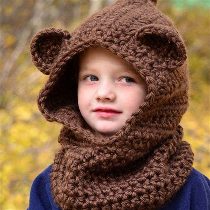 Crochet Girl Chunky Hooded Children Wolf Cowl Hat- 16 Easy Crochet Hats For Kid's | DIY to Make
