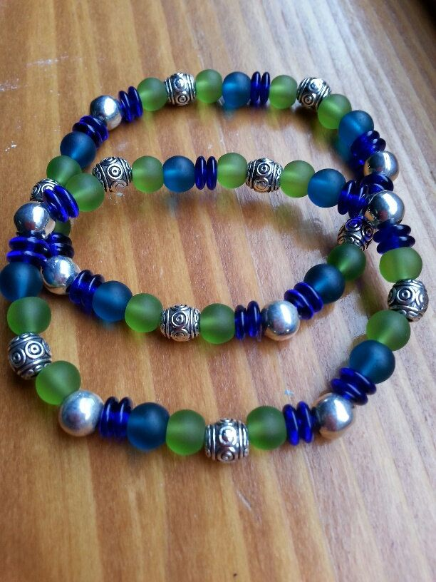 Seattle Seahawks Super Bowl 2014 Champs stretch bracelet (style A) by BeachCabinJewels on Etsy