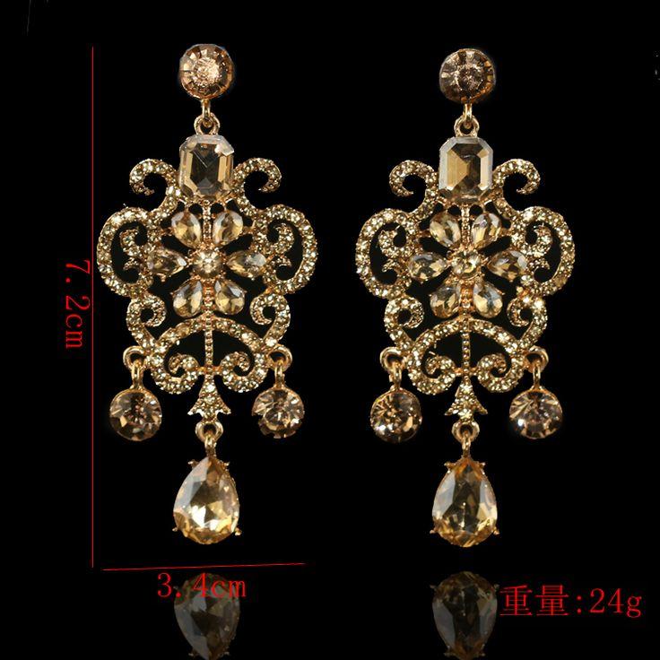 Корейский моды Королева темперамент золото Алмазный цветок серьги женские 2016 новые женские преувеличенные серьги серьги - глобальная станция Taobao