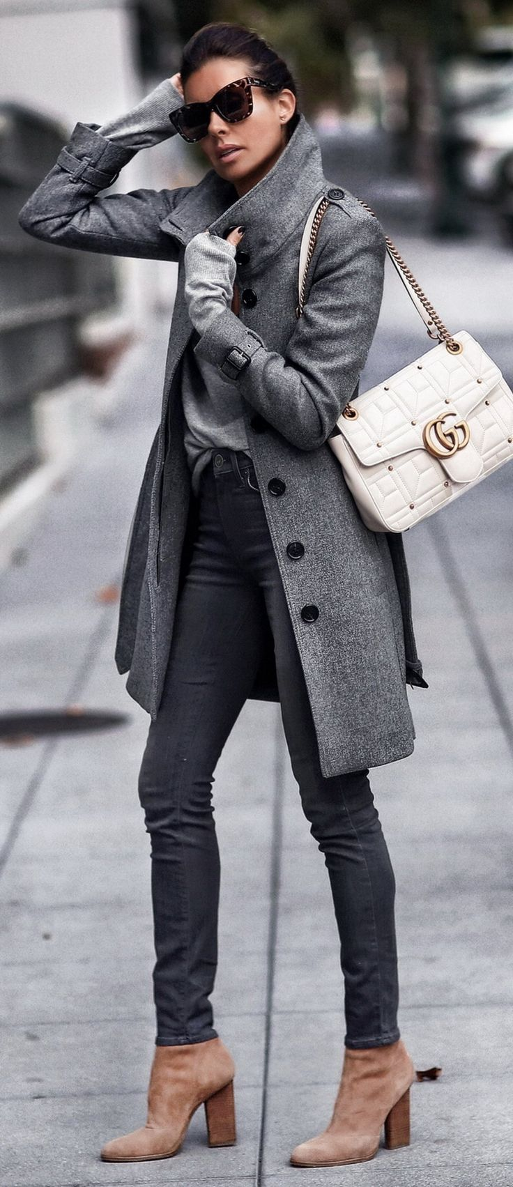 Coat: Burberry Sweater: Carbon 38 (Similar from AG) Bralette: Cosabella Jeans: PAIGE Shoes: Alexander Wang Bag: Gucci
