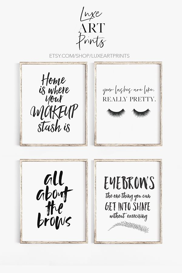 Fashion Art inspirational all about the brows beauty room girl bedroom print
