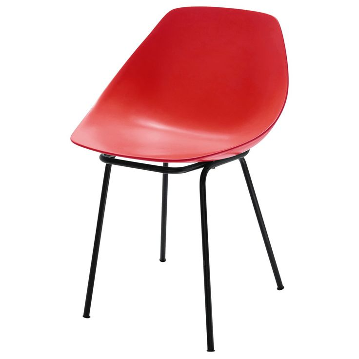 chaise guariche en fibre de verre et coquillage rouge