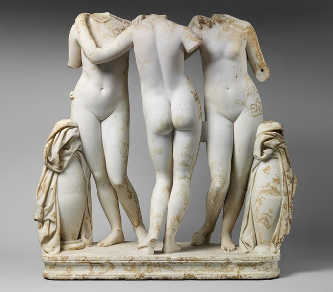 The Three Graces [Roman copy of a Greek work of the second century B.C.] (2010.260) | Heilbrunn Timeline of Art History | The Metropolitan Museum of Art. The Museum's acquisition is one of the finest and best preserved examples. The Three Graces—Aglaia (Beauty), Euphrosyne (Mirth), and Thalia (Abundance)—the handmaidens of Aphrodite.