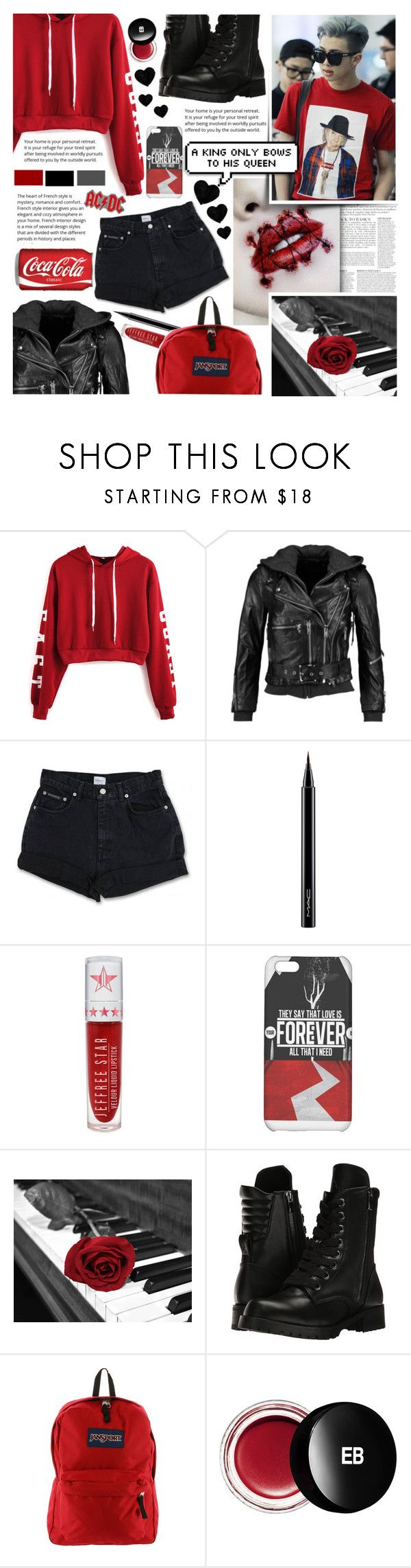 """Kim Namjoon / Rap Monster / God Of Destruction..."" by isabeldizova ❤ liked on Polyvore featuring Anja, WithChic, R13, Calvin Klein, MAC Cosmetics, Jeffree Star, Capezio, JanSport, Edward Bess and AC/DC"