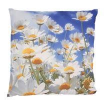 Kussen bloemen blauw/wit 43x43 cm
