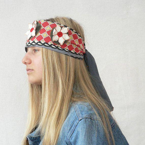 Fantasy appliqed recycled,head warmer hippie boho gypsy. Crazy hippie boho jeans headband cap head warmer.Tied ethnic spring hat.