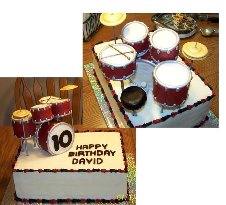 Drum Set Cake - A birthday cake for my nephew's 10th birthday, made to look like his real drum set. Drums are made of pound cake covered in fondant, cymbols are gumpaste. I tried to include as much detail as possible, including drum sticks, a seat and a foot pedal for the bass drum