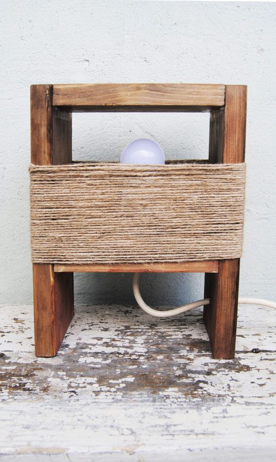Reclaimed wood table lamp bedside lamp Rustic night
