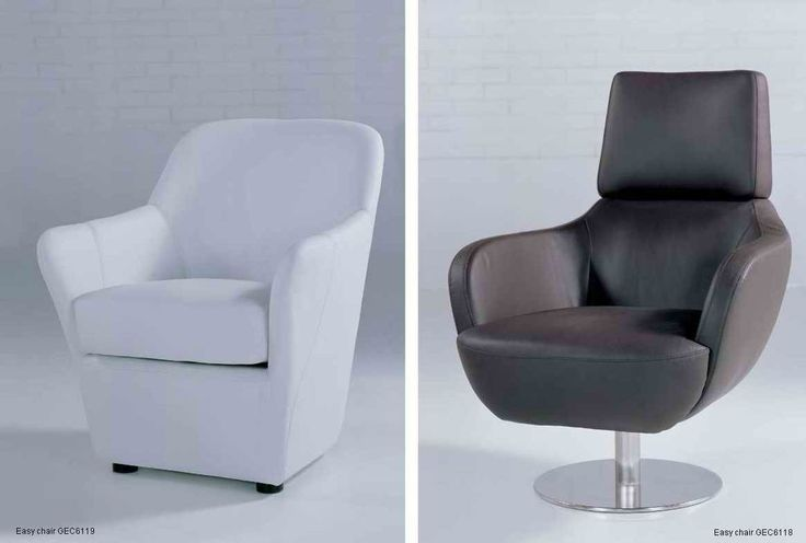 China Italian Black Leather Modern Upholstered Chairs / Arm Chair For Living Room;office leather chair supplier
