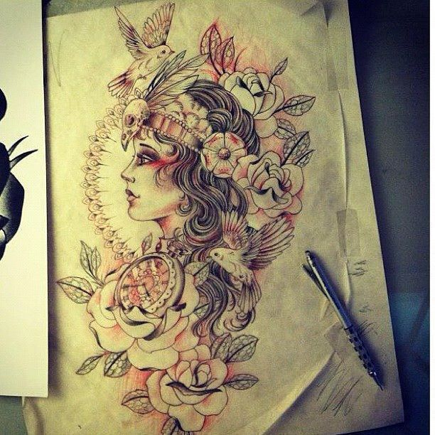 Beautiful gypsy tattoo designs I would put this on my left thigh or top of sleeve #tattoo Comments