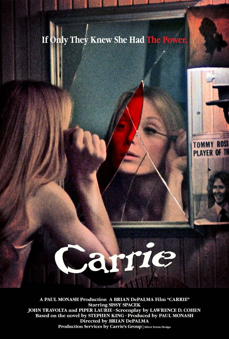 """This movie you can't deny it shows not only a horror film but a female known as a """"monster"""". One awesome film ! The remake was great too! Chloe grace fit perfect for the part of Carrie."""