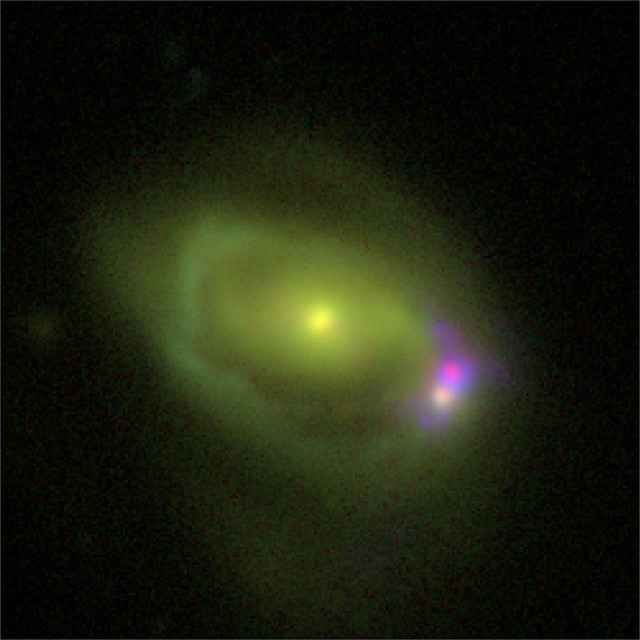 Nella fusione tra due galassie la più piccola ha il buco nero supermassiccio più attivo La galassia chiamata Was 49 si sta formando dalla fusione di una grande galassia a disco chiamata Was 49a e una galassia nana chiamata Was 49b. #nustar #nasa