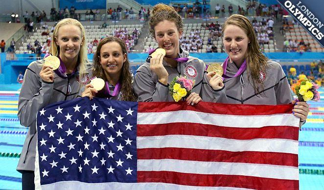 Golden Girls: Dana Volmer, Rebecca Soni, Allison Schmitt and Missy Franklin