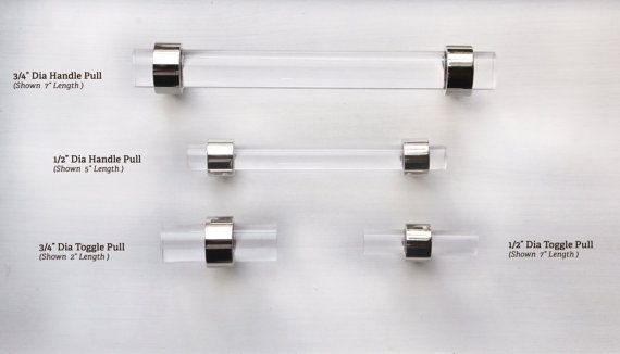 Drawer Pulls Polished Brass or polished nickel Lucite Cabinet Handles by LuxHoldups