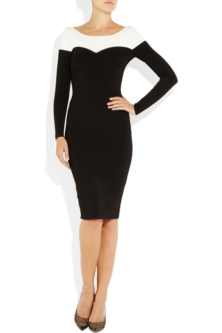 Temperley London|Arc two-tone stretch-knit dress|NET-A-PORTER.COM