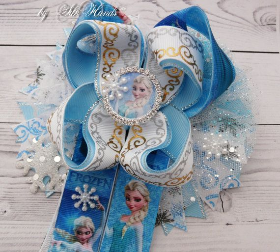 Snowflake bow- Frozen Bow - Over the Top Bow - Elsa party - Girls Hair Bows- big bow Frozen Bow - tail bow