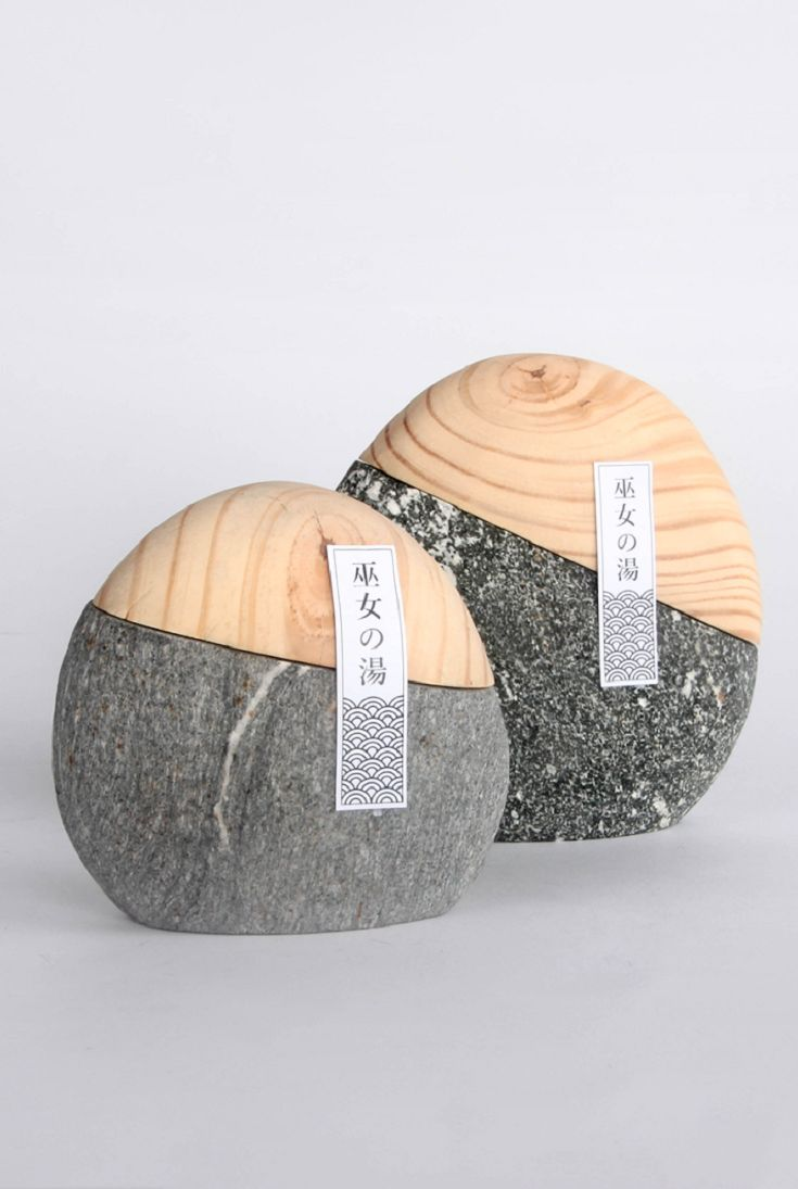 Unique Minimalist Product Packaging Design. Natural elements. Wood stone. Miko No Yu (Student Project) by Chiun Hau You