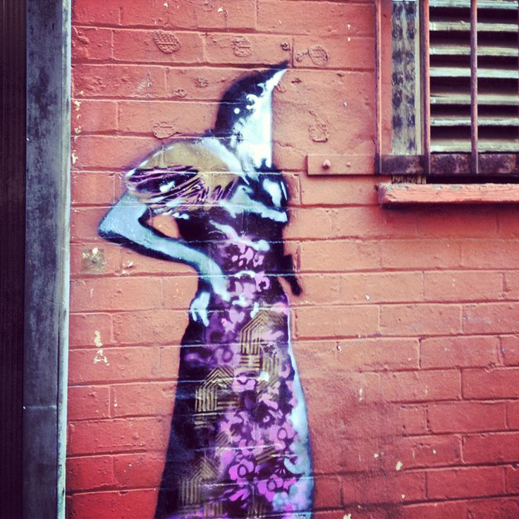 Bird Lady Stencil  Back Alley Gallery Lismore NSW  ms.brownslounge