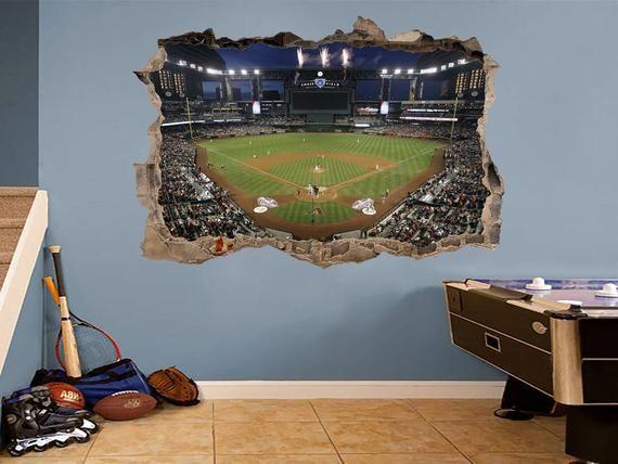 Chase Field Decal Stadium Poster Baseball Wall Art Stadium Etsy Baseball Wall Art Baseball Wall Sports Wall