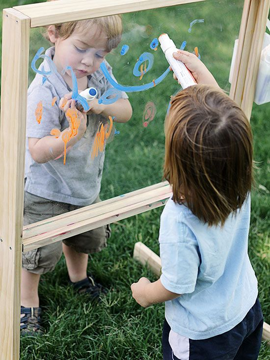 Make your own outdoor play easel! Get the details here: http://www.bhg.com/home-improvement/porch/outdoor-rooms/diy-backyard-games/?socsrc=bhgpin092315outdoorplayeasel&page=9