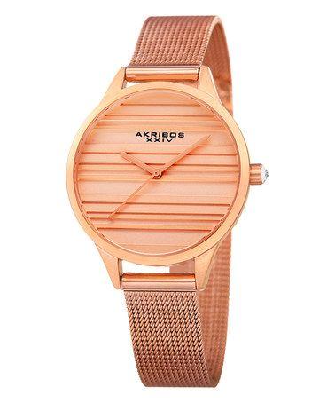 Rose Gold Stripe Mesh Bracelet Watch #zulily #zulilyfinds
