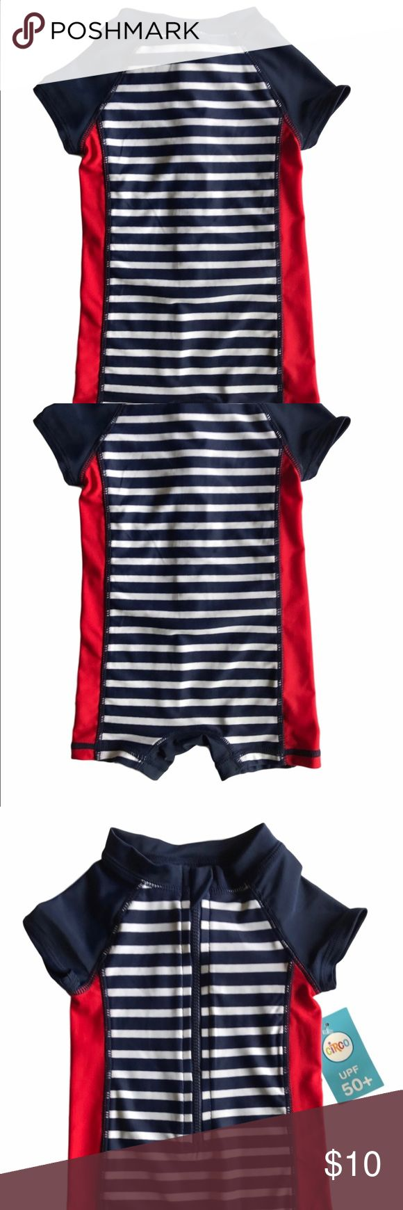 Circo Unisex Surfer Suit Size 3-6m * 82% Polyester  * 18% Spandex  * Made in Indonesia  * Back zip  * 3-6 months Circo Swim One Piece