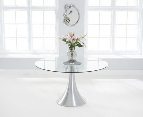 Buy the Paloma 135cm Round Glass Dining Table at Oak Furniture Superstore
