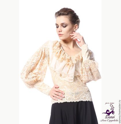 """Костюмы ручной работы. Ярмарка Мастеров - ручная работа. Купить Роскошная блузка из кружева стрейч в любом размере """"Графиня"""". Handmade."""