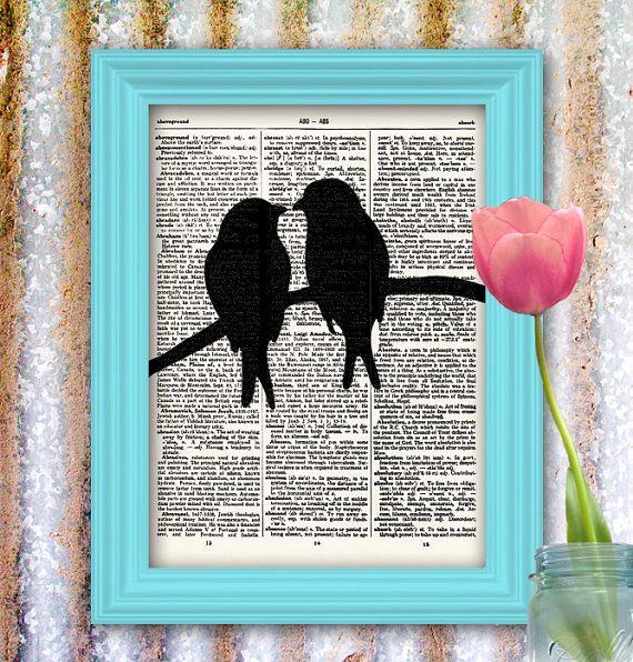 Lovebird Bird Art Print black bird silhouette vintage dictionary art print Upcycled Artwork