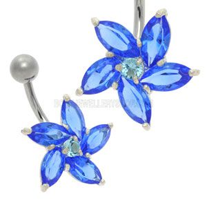 Buy now at www.bodyjewelleryshop.com - Daisy Jewel Belly Bar - Blue. We have the largest variety of bananabells you'll find! #bananabell #piercings #bodyjewellery @piercedfashion