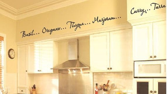 word art wall decals borders | Kitchen Words Spices Wall Border Soffit Border Vinyl Wall Decor Decal ...