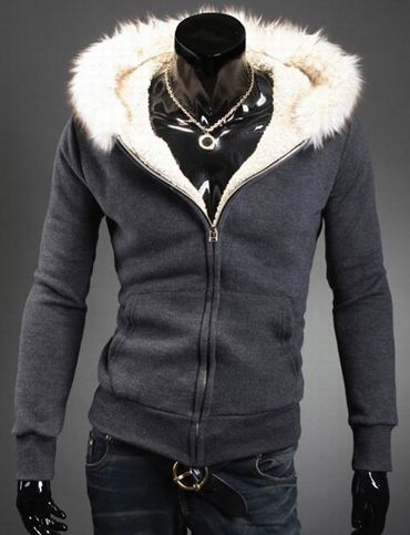 Warm Fur Trim Pocket Design Hoodie Fashion Flannel