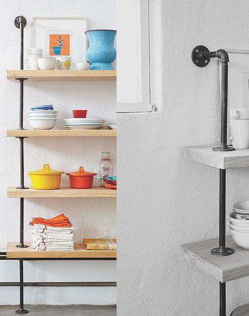 DIY shelfs from metal pipes
