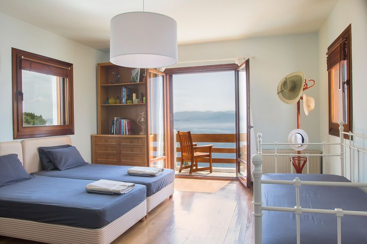 Villa Artisti Marathon is located on the slope of Schinias bay, overlooking the crystalline blue sea of South Evoikos which embraces the peaceful gulf of Marathon, a breath away from the historical battlefield. #bedroom #terrace #seaview #endlessblue #villa #villaforrent #8paxvilla #sunny #summer #vacation #holidays #private #luxury #boutique #putyourhaton #wood #windows #placetobe