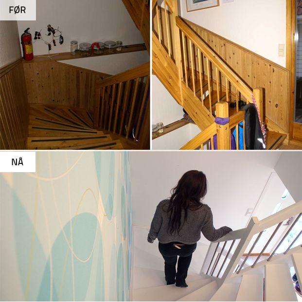 Før og nå bilder fra dette prosjektet finnes på  www.zebra-design.no Renovering av trappegang på begrenset budsjett. En må ikke bytte trappen for å få den til å se ny ut. Et billgere alternativ er å renovere trappen som allerede er der.
