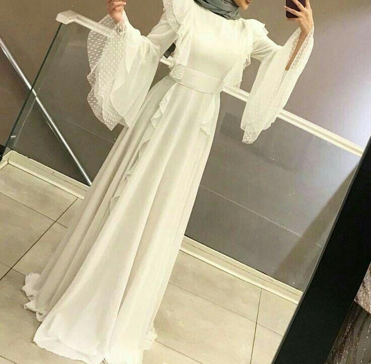 Genc Tesettur Beyaz Elbise Modelleri Photo Elbise Modelleri Giyim Elbise