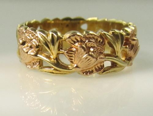 Artcarved 14k Rose Yellow Gold Flower Wedding Band