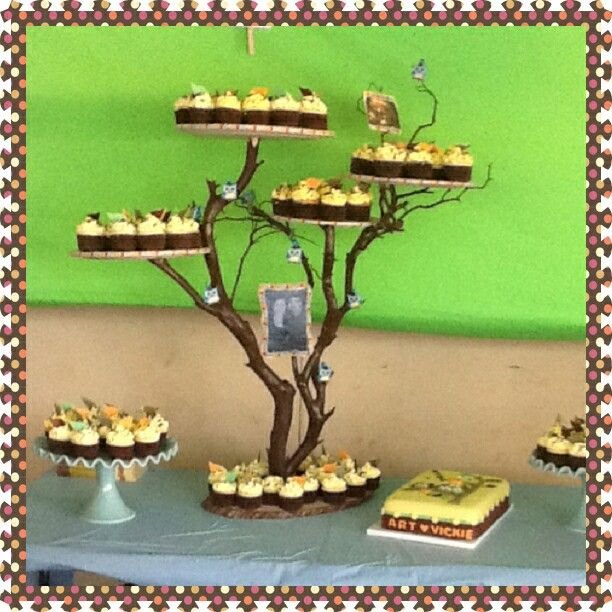 Made this cupcake stand all on my  own.  With tree branches.
