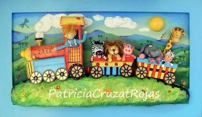 Patricia Cruzat Artesania y Color: Tren con Animales, cuadro infantil en…